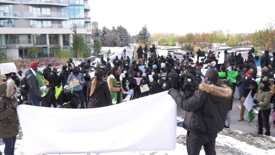 Nigerian-Calgarians demonstrated in downtown Calgary Saturday against alleged brutality by a law enforcement organization in Nigeria.