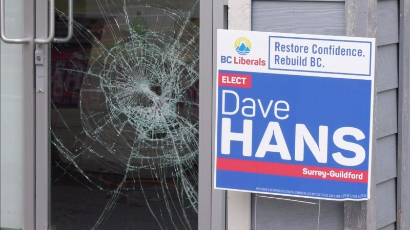 Windows smashed at Liberal campaign office