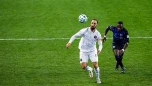 Inter Miami attacker Gonzalo Higuain, left, and Montreal Impact defender Zachary Brault-Guillard run for the ball during an MLS soccer match Saturday, Oct. 17, 2020, in Harrison, N.J. (AP Photo/Eduardo Munoz Alvarez)