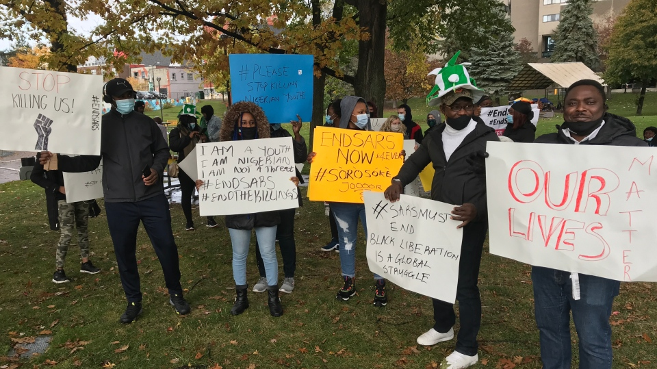 One-by-one, Sudbury's Nigerian commnity invited those who wanted to share their personal stories of involvement with the Nigerian police took the microphone. Oct.17/20 (Ian Campbell/CTV News Northern Ontario)