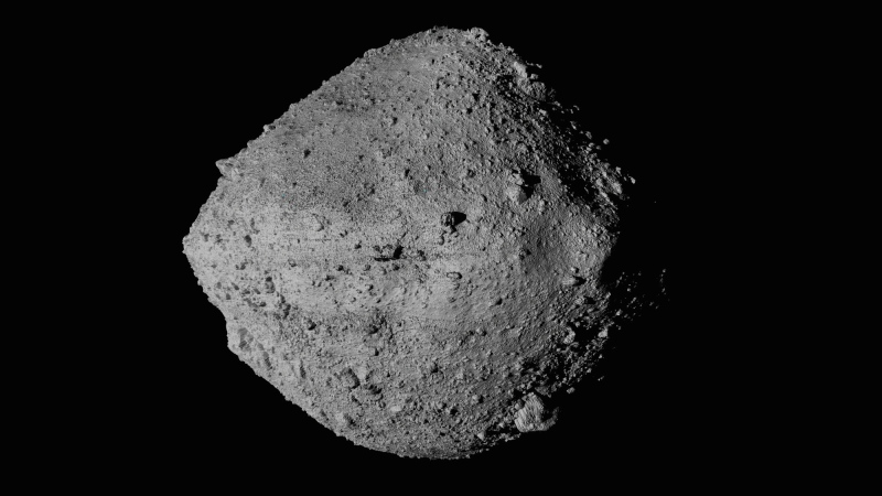 This undated image made available by NASA shows the asteroid Bennu from the OSIRIS-REx spacecraft. (NASA/Goddard/University of Arizona/CSA/York/MDA via AP)