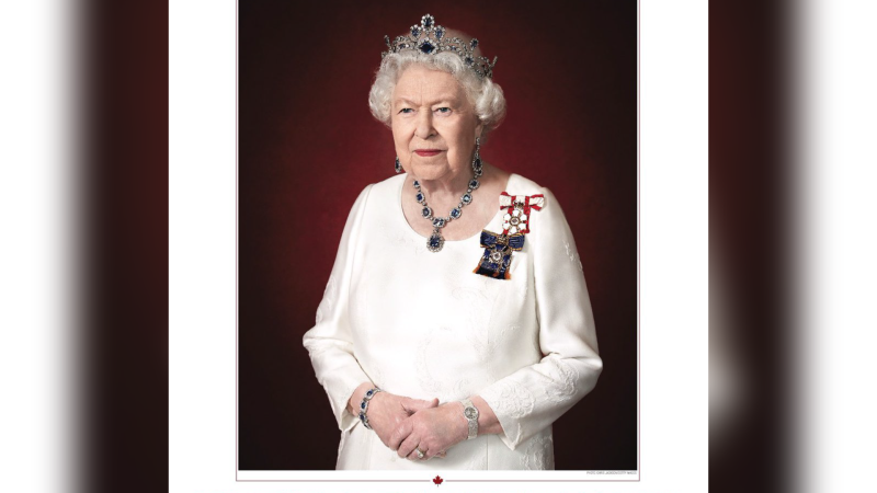 Queen Elizabeth II has been honoured by the Canadian government with a new official portrait unveiled on Oct. 16, 2020. (Credit: Government of Canada/Chris Jackson)
