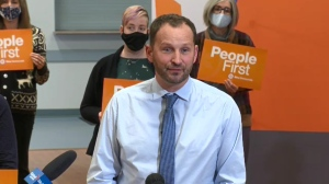 Meili promised more support for Sask., women at a campaign stop in Saskatoon on Oct. 18.