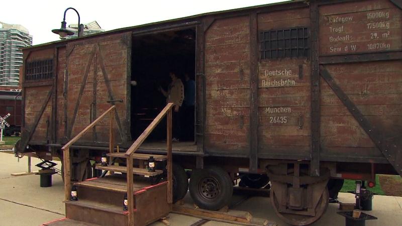 Cattle car Holocaust exhibit