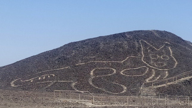This image shows the newly discovered geoglyph in Peru, amidst the famous Nazca Lines. (Peru Communication and Image Office / Ministry of Culture)