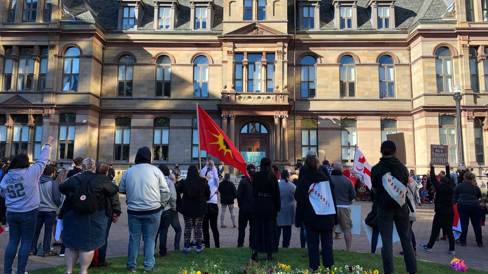 Protesters gather at Halifax city hall