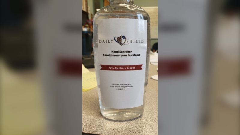 Health Canada became aware that a counterfeit version of the authorized Daily Shield hand sanitizer was found for sale at a Dollarama store in Thunder Bay, Ont. (Health Canada)
