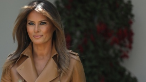 U.S. first lady Melania Trump arrives in the Rose Garden to speak at the White House May 7, 2018 in Washington, DC. Trump outlined her new initiatives, known as the Be Best program, as first lady during the event.