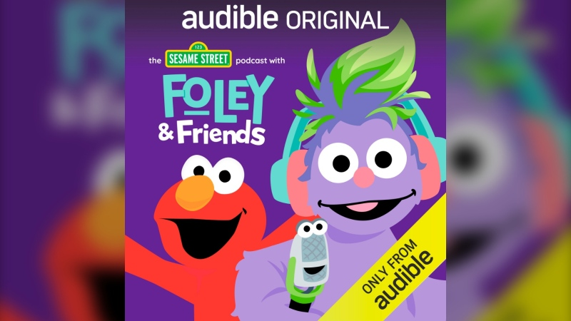 "This image released by Audible shows cover art for ""The Sesame Street Podcast with Foley & Friends."" The podcast, led by 6-year-old furry monster Foley and her sidekick Mikee the Microphone, gives some screen-free educational entertainment to kids who may be having spotty school lessons during the pandemic. (Audible via AP)"
