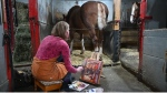 Karen Bailey paints inside Cundell Stables. (Joel Haslam / CTV)