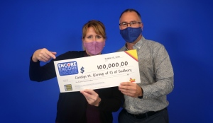 Carolyn Malette and Jacques Martel of Sudbury matched the last six of seven Encore numbers in exact order in the Oct. 3 Lotto 6/49 draw to win $100,000. (Supplied)
