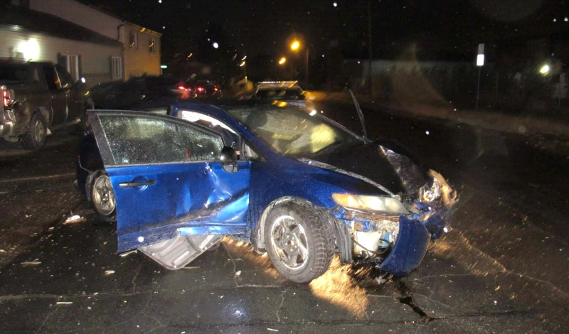 A 25-year-old Sudbury woman has been charged with impaired driving after a car collided with an apartment building on St. Mary Street early Sunday morning. (Supplied)