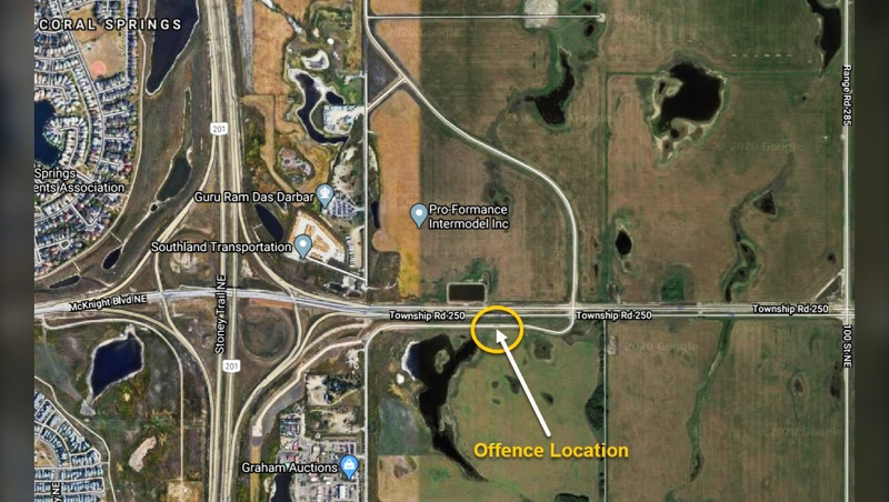 A map shows the suspected location where a man is believed to have been shot and killed Friday night in northeast Calgary.