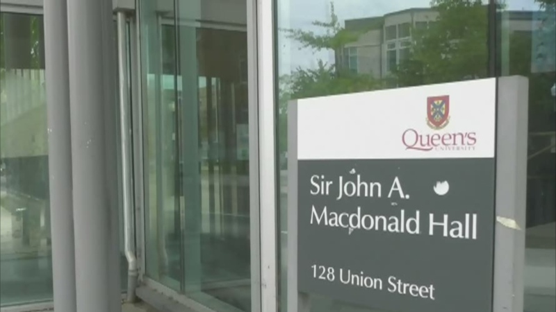 The Sir John A. Macdonald Hall on the campus of Queen's University in Kingston, Ont. will be renamed after the university's board of trustees approved a recommendation to drop the name of Canada's first prime minister from its Faculty of Law building. (Kimberley Johnson / CTV News Ottawa)