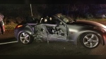 Police attended the scene and found a 2004 Nissan 350Z convertible with extensive damage. (RCMP)