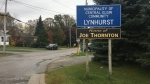 The Lynhurst, Ont. sign is seen on Monday, Oct. 19, 2020. (Brent Lale / CTV London)