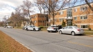 Winnipeg Police can be seen outside of a residence on Midwinter Avenue during an investigation on October 19, 2020. Police are investigating a serious incident from earlier in the morning. (CTV News Photo Scott Andersson)