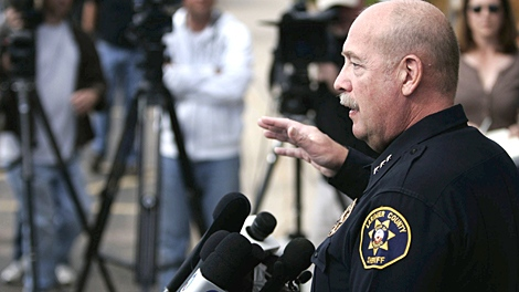 Larimer County Sheriff Jim Alderden speaks at a news conference in Fort Collins, Colo., Sunday, Oct. 18, 2009. (AP / Will Powers)