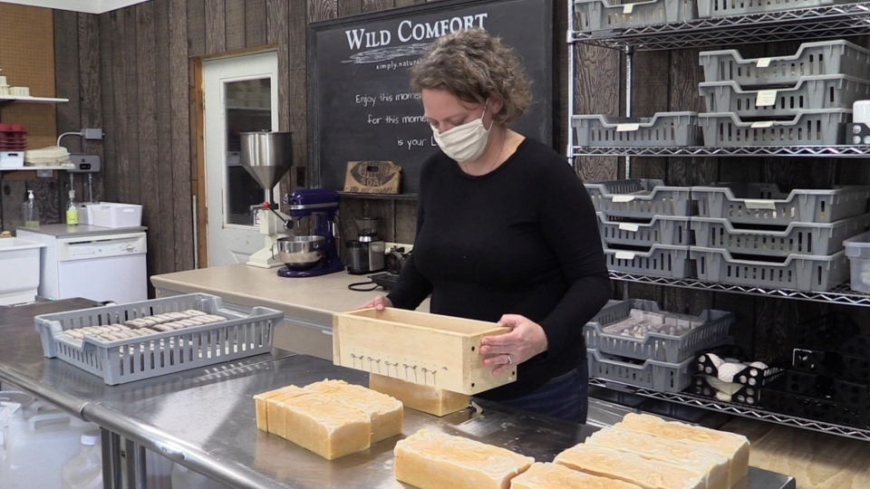Danielle Paluska  works at her business Wild Comfort, near Woodstock, Ont.