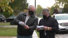 Nelson Gagnon and Shawn Horton expressed concerns over the cost of their most recent water bills in Lakeshore, Ont. on Monday, Oct. 19 2020. (Chris Campbell/CTV Windsor)