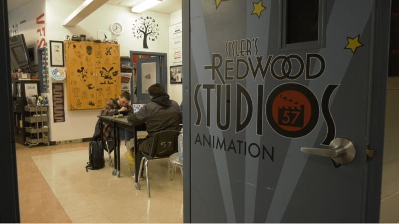Students at Sisler High School are at work in their animation studio as the school has partnered with Nickelodeon for a mentorship program. (Source: Michael D'Alimonte/CTV News)