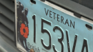 A veteran's licence plate is seen in Vancouver on Monday, Oct. 19, 2020.