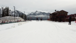 Nordic athletes got a head start on snow training Monday at the Canmore Nordic Centre