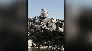 Famous Manitoba shaped rock in Pinawa Manitoba. Photo by Katherine Podaima.