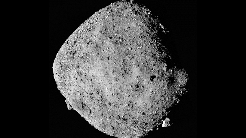 This mosaic image of asteroid Bennu is composed of 12 PolyCam images collected on Dec. 2 by the OSIRIS-REx spacecraft from a range of 24 km. (NASA/Goddard/University of Arizona/CNN)