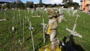 Crosses bearing tags with names are seen a graveyard of the Flaminio Cemetery, in Rome, Friday, Oct. 16, 2020. (AP Photo/Gregorio Borgia)