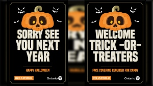 Two posters for that the Ontario government has produced for Halloween. (Source: Government of Ontario)