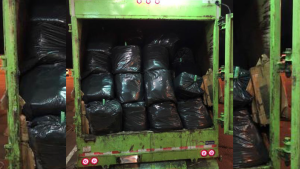 More than 1,000 pounds of pot was discovered in a garbage truck at the U.S. - Canada Border on Sunday, Oct. 18, 2020. (CBP)