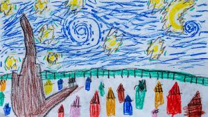 "Recreation of Van Gogh's ""The Starry Night""<br/> Braeden, 8 years old, 3rd grade, Broadview Public School"