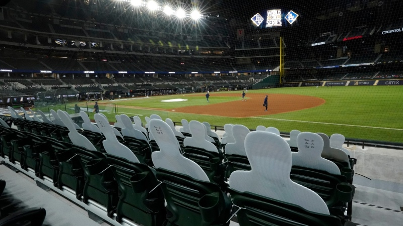The Tampa Bay Rays practice at Globe Life Field ahead of the baseball World Series against the Los Angeles Dodgers, in Arlington, Texas, on Oct. 14, 2020. (Eric Gay / AP)
