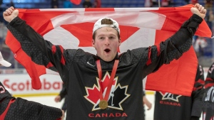 Canada's Alexis Lafreniere celebrates after defeating Russia 4-3 in the gold medal game at the World Junior Hockey Championships in Ostrava, Czech Republic, on January 5, 2020. (Ryan Remiorz / THE CANADIAN PRESS)