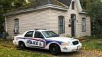 A police cruiser is seen outside 90 Stanley St. in London, Ont. on Monday, Oct. 19, 2020. (Jim Knight / CTV News)