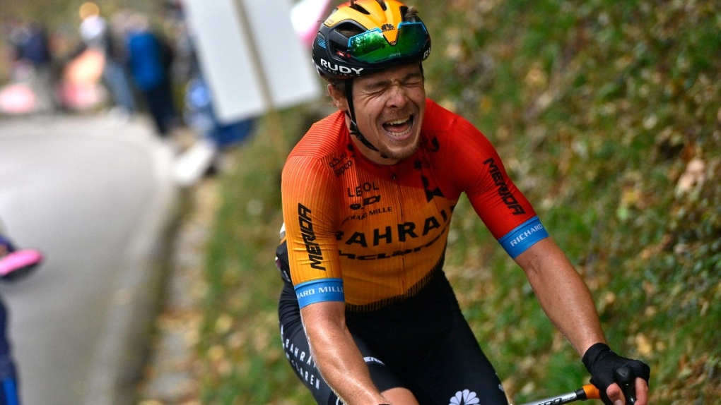 Jan Tratnik grimaces during stage 16
