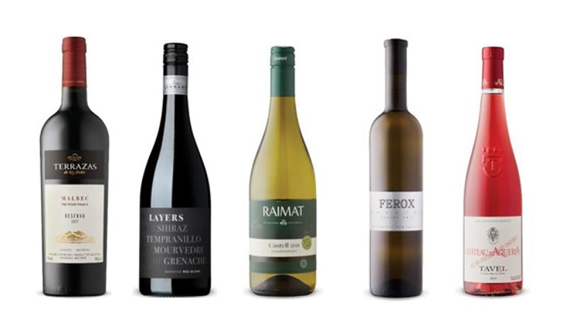 Terrazas de los Andes Reserva Malbec 2018, Layers Shiraz Tempranillo Mourvèdre Grenache 2017, Raimat Castell Chardonnay 2018, Ferox Winery Phantom Riesling 2017, Château d'Aquéria Tavel Rosé 2019