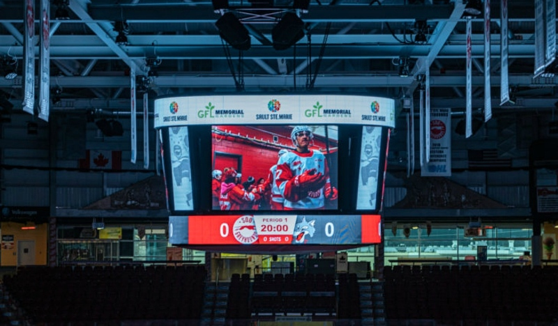 A new video board, hockey control room and brighter lights highlight about $1 million in upgrades to the GFL Memorial Gardens in Sault Ste. Marie. (Photos by Bob Davies Photography – SaultSports.com)