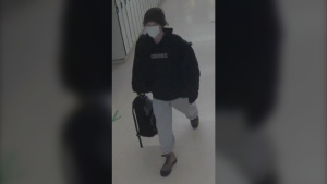 South Simcoe Police released this image of the suspect in a theft at Bradford District High School in Bradford, Ont., on Mon., Oct. 19, 2020. (Supplied)