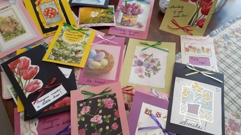A bundle of cards donated to the Smiling Seniors Project is seen in London, Ont. on Tuesday, Oct. 20, 2020. (Jordyn Read / CTV News)