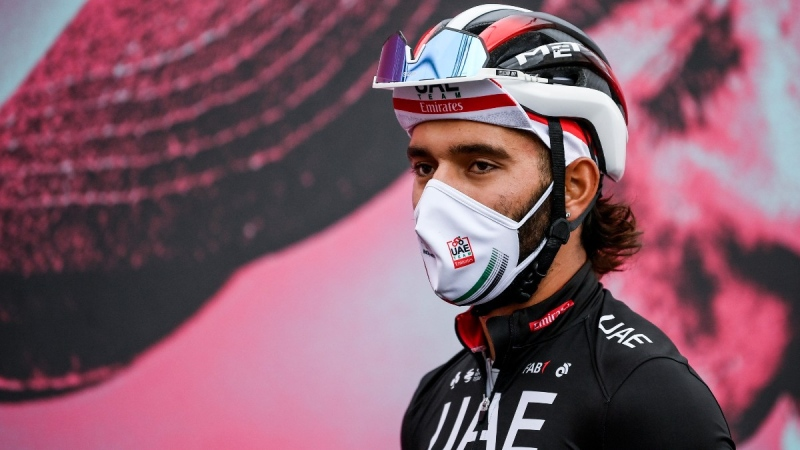 Fernando Gaviria at the 13th stage of the Giro d'Italia cycling race, on Oct. 16, 2020. (Marco Alpozzi / LaPresse via AP)