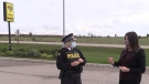 South Bruce OPP Insp. Krista Miller, left, speaks with Hanover and District Hospital CEO Dana Howes on Tuesday, Oct. 20, 2020. (Scott Miller /  CTV News)