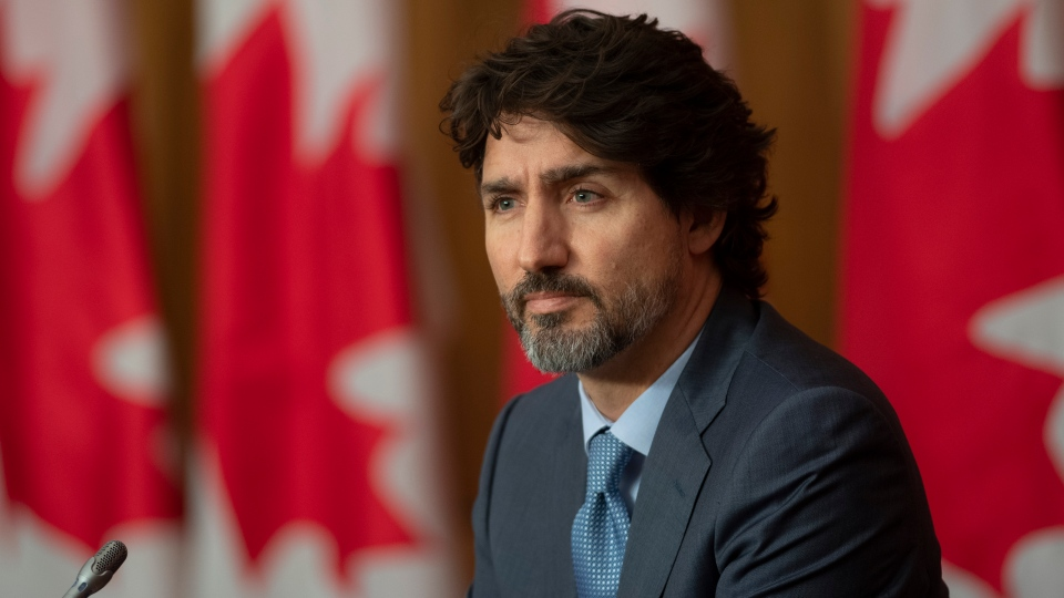 Prime Minister Justin Trudeau is seen during a news conference Tuesday October 20, 2020 in Ottawa. THE CANADIAN PRESS/Adrian Wyld