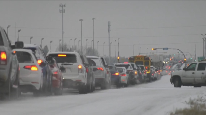 Traffic moved slower than normal Tuesday morning after the Regina experienced its first snowfall. (CTV News)