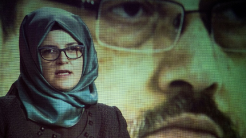 Hatice Cengiz, the fiancee of the late journalist Jamal Khashoggi, sued Saudi Arabia's crown prince and other Saudis in US court over the Khashoggi's murder in October 2018. (AFP)