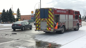 A car and a fire truck collided in northeast Edmonton on Oct. 20, 2020.