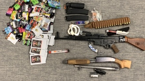 These items were seized from homes in Kitchener and Guelph (Supplied: Guelph Police Service)