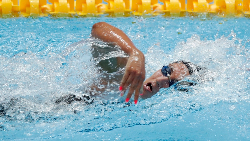 Italy's Simona Quadarella swims in her women's 800m heat at the World Swimming Championships in Gwangju, South Korea, Friday, July 26, 2019. (AP Photo/Lee Jin-man)