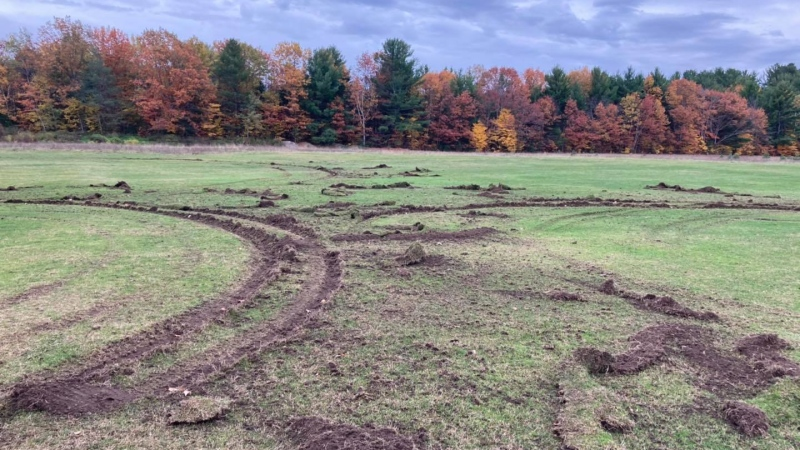 The Lake St. George Golf Club in Washago was severely damaged when someone drove a vehicle  onto the grounds on Oct. 18, 2020. (Lake St. George Golf Club/Facebook)